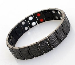 Wholesale Sports Magnetic Balance Bracelets - Pure Titanium Magnetic Bracelets Bezel Setting Sports Energy Balance Bracelet 4 in 1 Bio Magnetic Germanium Health Bracelets for men