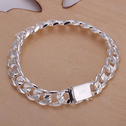 Wholesale Fish Squares - Hot sale 925 silver 10MM square buckle sideways pattern between the hand - Male DFMCH032, fashion 925 sterling silver Chain link bracelets