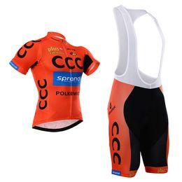 Wholesale White Orange Cycle Wear - Short Cycling Kit CCC SPRANDI ORANGE COLOR Bike Jersey Bib Shorts with Gel pad Short Sleeve Bicycle wear maillot ciclo jersey