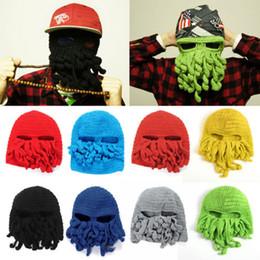 Wholesale Top Handmade Beanies - 2015 Novelty Handmade Knitting Wool Funny Beard Caps Winter Octopus Hats&caps Christmas Party Crocheted beanies unisex Gift