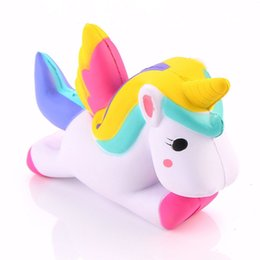 Wholesale Smart Toys Wholesale - Kawaii Squishies Flying Jumbo Unicorn Pony Horse Kid Toys Squishy Slow Rising Cream PU Foam Decompression toys Cell Smart Phone Strap Charms