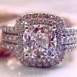 2019 almofada, corte, simulado, diamante, anel Luxo New Hot 2 Almofada Princesa Cut Wedding Enagement Anéis Para As Mulheres, NSCD Simulado Casamento Diamante Anel De Casamento conjunto almofada, corte, simulado, diamante, anel barato