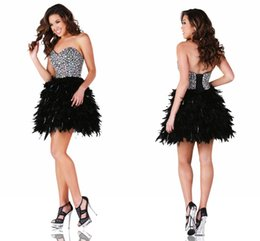 Wholesale Sweetheart Glitter Sequin Short Dress - 2017 Black Cocktail Party Dresses with Feathers Sexy A Line Sweetheart with Glitter Beading and Rhinestones Lace up Short Homecoming Dresse