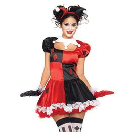 Wholesale Carnival Costumes For Women - New Arrival!! Harley Quinn Costume Women Funny Clown Costume for Adult Circus Cosplay Halloween Costumes For Women Carnival