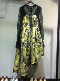 Wholesale Silk Mesh Puff - Runway Fashion Dreeses Chinese Style Floral Printing With Perspective Mesh Top Lace Ruffle Sleeves Long Puff Dress