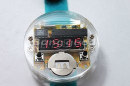 Wholesale Electronic Watch Factory - Wholesale-Factory Wholesale Free Shipping DIY LED Digital Watch Electronic Clock Kit With Transparent Cover