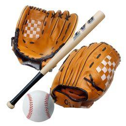 "Wholesale Baseball Bat Gifts - New Performance Gloves & Ball Combo Gift 1Pc 24 Inch Wooden Baseball Bat + 1Pc 10.5"" Youth Baseball Glove + 1Pc Training Ball E431J"