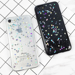 Wholesale Romantic Iphone Cases - Love Heart Shining Romantic Shiny Sparkling Glitter Transparent Soft TPU Phone Case For iPhone X 8 7 6S Plus Samsung S7 Edge S8 Plus Note 8