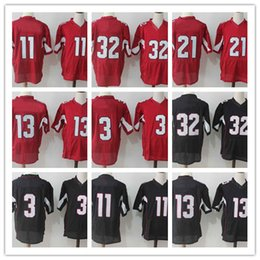 Wholesale Elite 13 - 2017 Wholesale men American football 11 32 21 13 3 red and black Elite short sleeves, breathable jerseys, embroidery size M-3XL