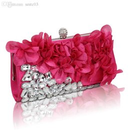 Wholesale Blue Satin Evening Bag - Wholesale-2015 The New Day Clutches Lady Unisex Chains Solid Versatile Special Diamond Petal Dinner Evening Bag Bride Wedding Banquet Hand