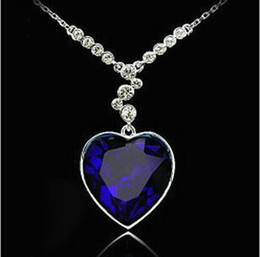 Wholesale Silver Blue Chokers - Luxury Austrian Crystal Titanic Love Of Heart Diamond Pendant Necklace Women Chokers Dark Blue valentine day gift