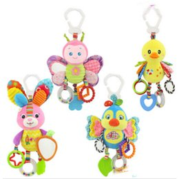 Wholesale Christmas Crib Bedding - Baby Animal Rattles Toy Kids Soft Butterfly  Bird  Plush Toy Teether With Sounds Infant Stroller  Bed  Crib Hanging Toys Cx890977