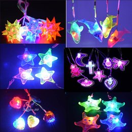 Wholesale Light Up Spiky Balls - Fun Light Up LED Flashing Spiky Ball Dophin Star Heart Pendant Necklace Gift Rave Party Halloween Children'Day Wedding Decor