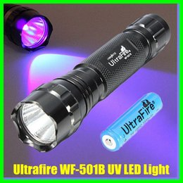 Wholesale Ultrafire Uv - 5W 300 Lumens Ultrafire CREE WF-501B UV LED Light Flashlight Torch 18650 Battery Charger Free Shipping