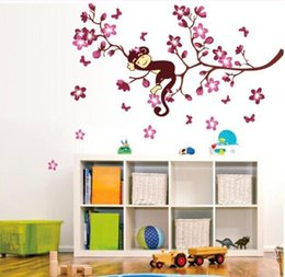 Wholesale Wall Paper Stickers Children Animals - ZY7020 DIY pink branch animal monkey vinyl wall stickers for kids rooms boys girl wall papers home decor child sticker wall