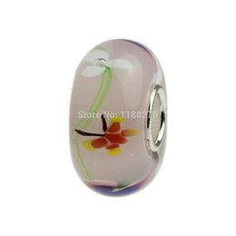 Wholesale Bracelet Glass Tubes - Butterfly over Flowers Rosy Pastel Murano Glass Bead Sterling Silver Tube .925 Stamped Fit European Bracelet