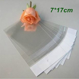 Wholesale Plastic Bags Crafts - 7*17cm Self Adhesive Seal Clear Plastic Packing Package Bag OPP Poly Bag Pouches Hang Hole Gift Packaging Bags for Crafts Jewelry Ornaments