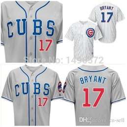Wholesale Mens Stripped Shirts - 2015 New 2015 Chicago Cubs Jersey 17 Kris Bryant Mens White Strips Grey Cool Base Shirts Stitched Embroidery Authentic Baseball Jersey