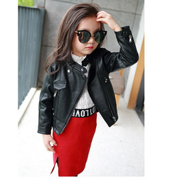 Wholesale Kids Leather Motorcycle Jacket - 2016 baby kids girls's PU leather jacket motorcycle coat cool long sleeve girl girls zip casual Fahion A9