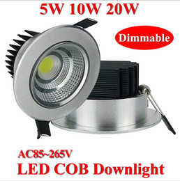 Wholesale Cob Downlight Ac85 - Dimmable 5w 10w 20W cob LED downlight dimmable COB ceiling spot light warm cool white plafond recessed downlight AC85-265V