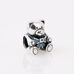 Wholesale Baby Jewelry Bead Glass - 100% S925 Sterling Silver Baby Boy Teddy Bear Charm Bead with Blue Enamel Fits European Pandora Style Jewelry Bracelets Necklaces & Pendant