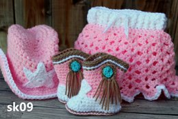 Wholesale Cowgirl Hat Boots - Cute Crochet Baby GirlCrocheted Cowgirl Set ~ Includes Hat, Boots, and Matching Diaper Cover with Attached Skirt