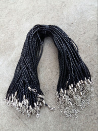 Wholesale 22 Wire - 18'' 20'' 22'' 24'' 4mm Black PU Leather Braid Necklace Cords With Lobster Clasp For DIY Craft Jewelry