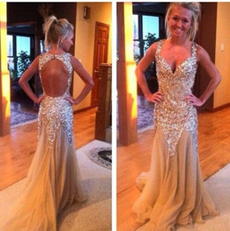 Wholesale Luxurious Sweetheart Trumpet - Luxurious Champagne Prom Dresses 2015 Bling Bling Beading Crystal with Tulle Mermaid Evening Gowns Long Party Dress Sweetheart Backless ZL