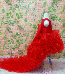 Wholesale Upscale Flower Girl Dresses - Flower Girl Dresses for wedding trailing dress flower girl dress skirt dovetail upscale princess tutu red white dress