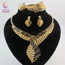 Wholesale Gold Costume Jewelry Set - Fashion African Costume Jewelry Sets 18K Gold Plated Rhinestone Wedding Women Bridal Accessories Nigerian Necklace Earrings Bracelet Ring Pa