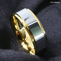 Wholesale Mens High Bar - Wholesale- 8mm Tungsten Mens Ring Gold High polished Wedding Band Mens Jewelry Free Shipping