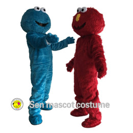 Wholesale Sesame Street Clothes - Free shipping on sesame street blue cookie monster and elmo's mascot costume high quality long fur clothing sales elmo's mascot