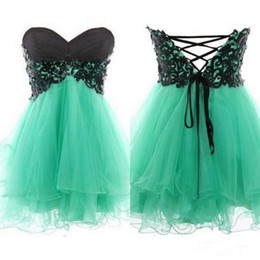 Wholesale Turquoise Beaded Short Party Dress - 2015 Short Prom Dresses Black Lace Appliques Beaded Mini Party Gowns Sweetheart Empire Lace up Back Turquoise Tulle Custom Made Cheap Dress