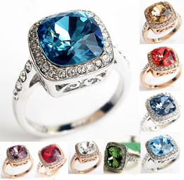 austrian crystals rings wholesale Coupons - 18K White Rose Gold Plated Royal Design Austrian Crystal Square Blue Green Emerald Lady Finger Ring Wholesale 9 Colors