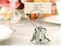 Wholesale Kissing Bells Heart Charm - Kissing Bells Place Card holder 200PCS LOT Silver Bell with Dangling Heart Charm Free shiping