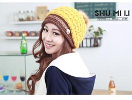 Wholesale Ear Hook Loop - New Fashion Plus velvet paragraph Headwear Women Warm Rageared Baggy Winter Beanie Chunky Knit Crochet Ski Hat Ear Cap