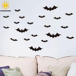 Wholesale Vinyl Autocollant - New Halloween Black bat wall sticker home decor living room bedroom decor wall art stickers autocollant