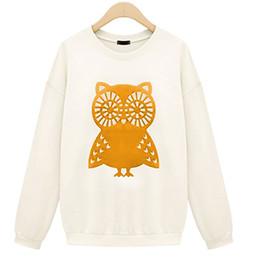 Wholesale Women Owl Hoodie - 2015 High Quality Sweatshirt Women Fashion Winter Autumn Casual Cute White Owl Animal Print Beading Hoodies 3 Colors Pullover