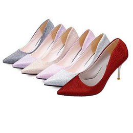 Wholesale Stiletto Heels Wholesale - Wholesale-Women Heels 2015 Pointed Toe Wedding Shoes Women Pumps Glitter Sexy High Heels Stilettos Solid Valentine Shoes Lady High Heels