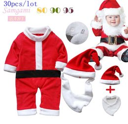 Wholesale Bibs Santa Claus - 30pcs lot SamgamiBaby Cute Christmas Santa Claus long sleeve Cotton Rompers + hats + Bib suits in stock Spring Autumn for Baby boys girls