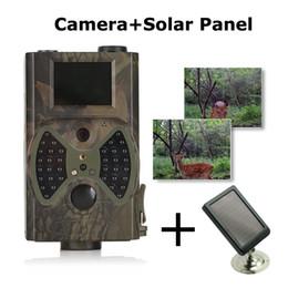 cámara oculta al aire libre Rebajas Cámara de captura de sendero HC-300A Photo Trap Cámara de camuflaje de infrarrojo 12P HD Solar Remote Charger and Remote