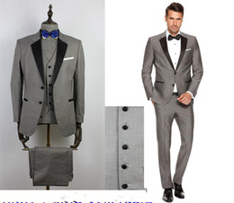 Wholesale Navy Blue Khaki Pants - 2016 Custom Grey Mens Suits Black Lapel Slim Fit Wedding Suits for Groom   Groomsmen Prom Casual Suits (Jacket+Pants+Vest+Bow Tie)
