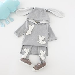 Wholesale Sport Suit Fashion Baby - Cartoon Baby Girls Clothing Sets Fashion Bunny Ear Toddler Hooded Outfits Casual Sports Sets Autumn Tops + Tights 2pcs Suits C2528
