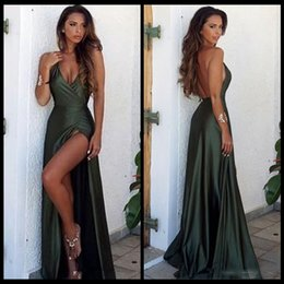 Wholesale silk gowns - 2018 Olive Green Backless Split Simple Prom Dresses V-Neck Long Floor Length Evening Gowns