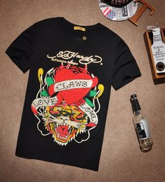 Wholesale Drill Shirts - ED HARDY Europe and the tide brand new Tiger heart print drilling men's T-shirt cotton fashion hip-hop short-sleeved