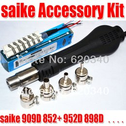 Wholesale Hot Air Gun Nozzle - Free Shipping Hot Air Desoldering Gun + Heater + Nozzles for SAIKE machine 852D+ 898D order<$18no track