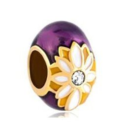 Cuentas faberge online-5 unids por lote Daisy Bead Esmalte Crisantemo Faberge Egg charm Beads Adapta para Pandora DIY Pulseras