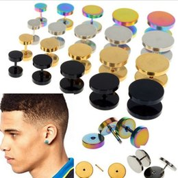 Wholesale Fake Ear Gauges - Wholesale-Fashion 6-14mm Jewelry 2X Stainless Steel Fake Cheater Ear Plugs Gauge Illusion Body Jewelry Pierceing