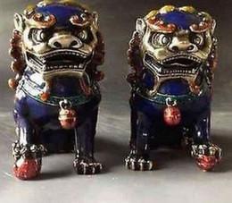 Handwork velho de China uma estátua do cobre de Cloisonne do par - cão de Foo do leão NR de Fornecedores de estátua de leão de metal