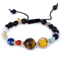 Wholesale planet charm bracelet - Universe Galaxy Eight Planets Bead Bracelet Solar System Moon Star Natural Stone Strands Bangle Wrtistgband for Women Jewelry Drop Shipping